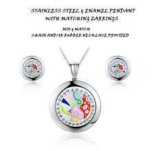 CZ CLOCK ABSTRACT AVANT GARDE ENAMEL STAINLESS STEEL PENDANT+MATCHING EARRING