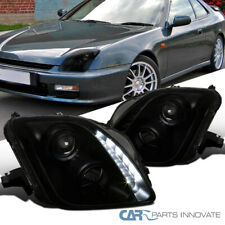 For Honda 97-01 Prelude Black Smoke LED DRL Strip Projector Headlights Pair