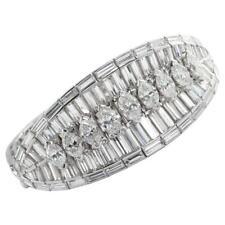 Wide Fancy Marquise & Baguette Shape 15.25CT Cubic Zirconia Engagement Bracelet