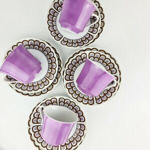 4 Vintage Retro Seyei Japan Purple High Tea Pattern Cup Plate saucer