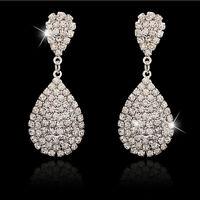 Water-drop Vintage Silver crystal rhinestone dangle Women wedding Earring EW