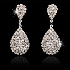Boucles d'oreilles de mariage pendentif en cristal argent