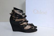 sz 8.5 / 39 Chloe Black Suede Multi strap Open Toe Wedge Heel Sandal Shoes