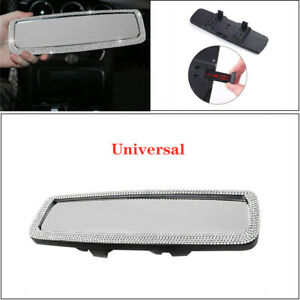 Glittering Car Auto Rear Flat View Mirror Driving Reversing Safety Crystal Bling