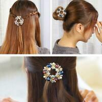 1X Rainbow Crystal Hair Clips For Women Classic Hollow Round Hairpin Trendy NEW