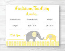 Yellow Chevron Elephant Baby Shower Baby Predictions Game Cards Printable