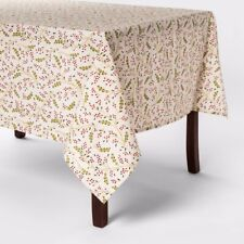 Threshold Oblong Ivory Tablecloth Holly Berry  60 x 84 Holiday New