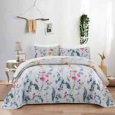 230X250CM Quilted Coverlet Patchwork Bedspread Floral Bedding Linen Pillowcase