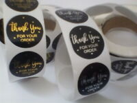 Round Sticky Labels Thank You For Your Order Gift Craft Box Black Gold Silver