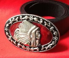 NATIVE RED INDIAN CHIEF HEAD COWBOY WESTERN WILDWEST BUCKLE BLACK LEATHER BELT
