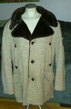 VINTAGE WILLIAM BERRY BROWN SPECKLED TWEED WOOL FUR LINED DRESS COAT 44 MENS
