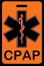 Safety Orange CPAP Carry-On Bag Tag - CPAP BiPAP APNEA POC