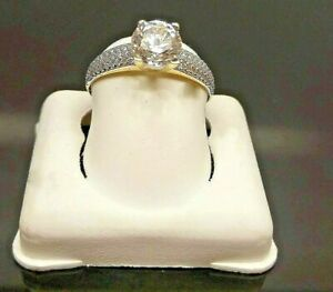 SOLID 10K Yellow Gold Ladies Ring Anniversary Wedding Promise 1 CT Diamond look