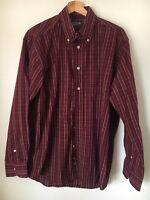Cedarwood State Size M Wine Check Cotton Long Sleeve Shirt <T12578