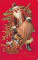 Christmas Postcard Santa Claus Dumping Out His Bag of Toys~125310
