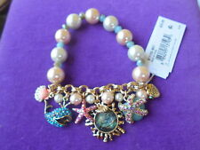 Betsey Johnson Authentic NWT G/T Sea Creature Multi-Charm Faux Pearl  Bracelet
