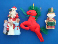 Christmas ornaments red unicorn little drummer boy STATS Santa Claus