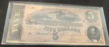 1864 Confederate States of America Note $5.00 Richmond Edlinger& Bal Columbia Sc