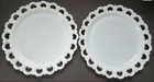 """2 Vintage Anchor Hocking Lace Edge Milk Glass Old Colony Open Heart 13"""" Plates"""