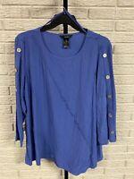 Ali Miles womens BLOUSE SHIRT TOP blue stretch tunic long 2X NEW $74 #G120