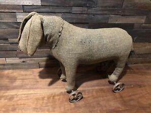 Original 1880s Primitive Donkey / Horse Stuffed Pull Toy on Wheels Antique Folk
