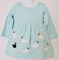 Hanna Andersson Girls Appy Dress Feather Blue With Swans NWT
