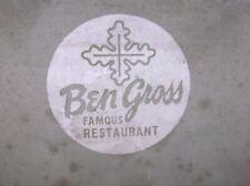 VTG Jeannette Glass Screen Printing Screen - Ben Gross Famous Restaurant Ashtray