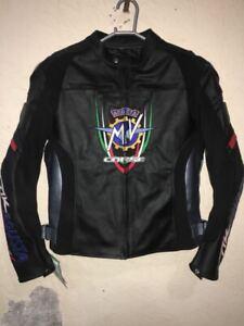 Handmade Men's Black Leather MV AGUSTA Biker Jacket