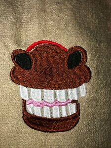 Embroidered Beige Bathroom  Hand Towel Horse Mouth HEE HAW Laughing Pony  HS1785