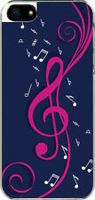 iPhone 5 Navy Blue and Pink Treble Clef Note Design Sticker on Hard Case Cover