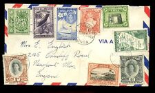 TONGA 1953 AIRMAIL 9 STAMP FRANKING to 5/- to WALES
