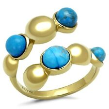 Turquoise Stainless Steel Band Costume Rings