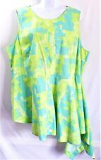 LANE BRYANT Size 20 Dress Uneven Hem Hi Low Green Blue Sleeveless Womens Plus