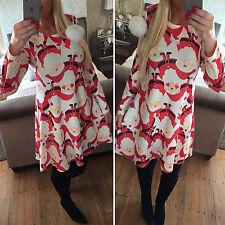New Women Snowman Santa Christmas Print Flared Skater Swing Mini Dress Halloween
