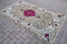 "Vintage Handwoven Turkish Pink Rug 94""x54"""