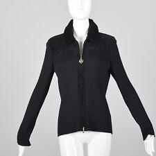 Medium 1990s St John Sport Zip Front Vintage Cardigan Black Rib Knit Sweater