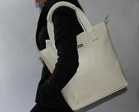 Elegant 100% Italian Leather Handbag Ivory Large Tote Shoulder Bucket Bag