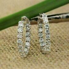 100% NEW 2.05Ct Round Moissanite Diamond Huggie Hoop Earrings 14K White Gold FN