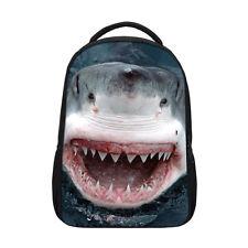 Vivid Shark Print Backpack Boys Girls Bookbag School Travel Shoulder Bags Gifts