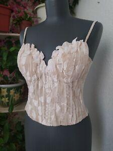 La Perla Vintage Bra Corset Bustier Beige Lace Size 44
