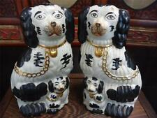 Pair Vintage Porcelain Spaniel Dogs With Puppies