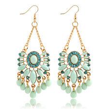 NiX 1456 High Quality Retro Flower Sky Blue Crystal Earrings Danglers Gift Women