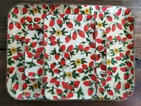 Beautiful Hand Painted Floral Serving Tray w/ 4 Smaller Plates - Vintage Japan
