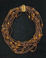"Vintage Sandor Gold Tone Brown glass Bead Multi strand Choker Necklace 13""..."