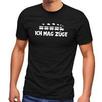 Herren T-Shirt Ich mag Züge lustiger Spruch schwarzer Humor Zitat Meme