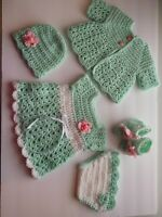 Crocheted baby girl outfit, dress, sweater hat and booties. fits new born