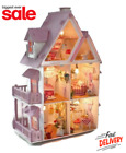 Large Wooden Kids Doll House Barbie Kit Girls Play Dollhouse Mansion, Furniture