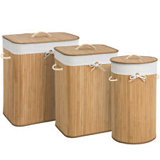 Panier à linge corbeille en bambou bac à linge pliable naturel