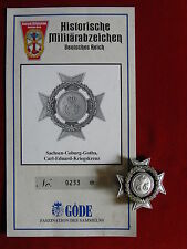 Göde Orden Sassonia Coburg gothabillys Carl Eduard croce di guerra + certificato n. 0233