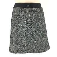 Ann Taylor Loft Women's Skirt Wool Blend Mini Lined Spec Black White Size 12P